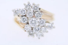 14k Yellow Gold 1.90ct Round Diamond Cluster Waterfall Ring (I, SI2) Size 7.5