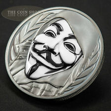 GUY FAWKES MASK - 2016 1 oz Pure Silver Coin - smartminting© & Porcelain Effect