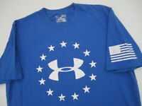 Mens Medium Under Armour Charged Cotton blue American Flag shirt