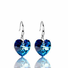 925 Silver Plated Ear Hook Fashion Blue Crystal Heart Stud Earrings