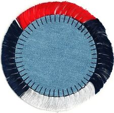 Americana Red White Blue Fringe Denim Jean Circle Embroidery Patch