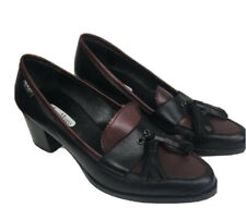 Marco Moreo Leather Ladies Shoes Two Tone Black & Burgundy Italian Leather
