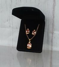 2pc Citrine Necklace Earring Set Gift Boxed Jewelry NWOT Prom Birthday Mother's