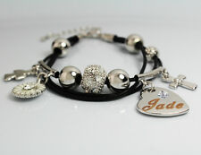 Genuine Braided Leather Charm Bracelet With Name - JADE - Gifts for her