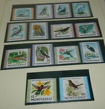 MONTSERRAT 1970 BIRDS SET OF 14 UNMOUNTED MINT STAMPS