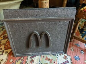 MCDONALD'S STORE BUILDING PLASTIC SIGN ADVERTISING 24X21 GOLDEN ARCHES BROWN VTG