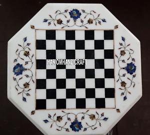 "15"" Marble Chess Coffee Table Inlay Handmade Lapis Stone Kitchen Art Decor H4097"