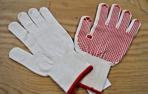 Feinstrick Montage Handschuh genoppt, weiß-rot Gr. 7, 8, 9, 10
