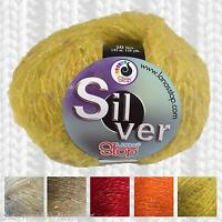 1/2 PRICE - LANAS STOP SILVER MOHAIR KNITTING YARN WITH A TOUCH OF SPARKLE!