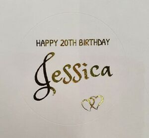 Round Personalised Happy Birthday Stickers Labels Gold Silver Foil Coated Foiled