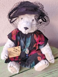 """1995 OOAK 12"""" Stearnsy Jointed Bear Mohair """"Precious Rose"""" With Tags Signed"""