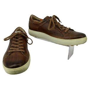 Ecco Leather Golf Shoes Mens Size 45 Extra Wide Brown Spikeless Athletic Sneaker
