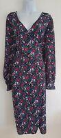 Womens Asos Plus Size Blue Pink Floral Ditsy Tie Belt Midi Tea Wrap Dress 22 New