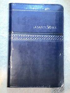French Bible, La Sainte Bible- Louis Segond 1910 Blue Im Leather, Zipper