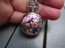 bird parrot enamel  necklace pendant pocket watch silver tone