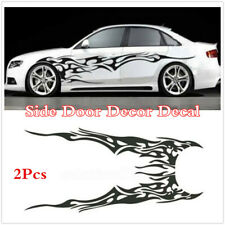 Universal 2Pc Car Body Side Door Vinyl Scratch Decal Black Flame Styling Sticker