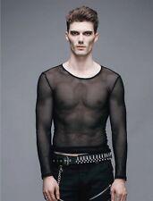 Gothic Devil Fashion Black Men Net Shirt Transparent rock punk Top Steampunk