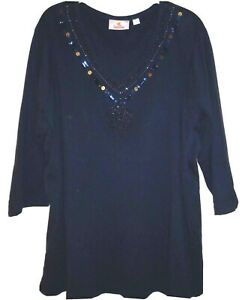 QUACKER FACTORY 1X TUNIC TOP COTTON BLEND KNIT Beads Sequin Embellished Navy