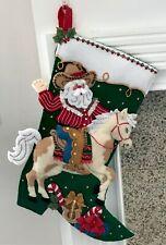 """FINISHED Bucilla """"COWBOY SANTA"""" Horse Christmas Stocking * Fully Lined * 18"""""""