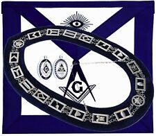 Masonic Blue Lodge Silver Chain Collar // Apron // Pendant Double Sided SET
