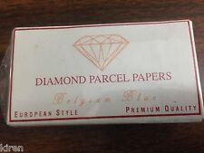 PARCEL PAPERS # 1  7.5x4cm 25pc WHITE/BLUE BELGIUM LINER 40ct DIAMOND GEMSTONE