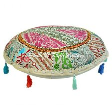 Indian Decor Round Fabric Floor Cushion Cover Pouffe Embroidered Home Accent