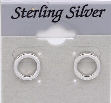 PERFECT CIRCLE EARRING 10MM BAR STUDS STERLING SILVER ROUND CIRCLE BAR EARRING