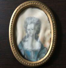 Portrait Woman Miniature Painted & Signed Frame Brass Nineteenth French