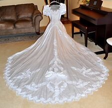 Beautiful Beaded & Lace Vintage White Satin Wedding Dress with Cathedral Length