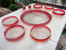 "Indiana Glass Diamond Point Ruby Flash Oval Divided 12"" Platter 6 Bowls S&P EC"