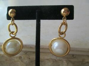 AVON VINTAGE*DIMENSIONAL DROP PIERCED EARRINGS W/SURGICAL STEEL POST*NEW*1993
