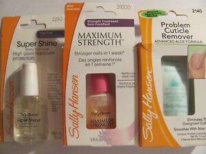 SALLY HANSEN Top Coat, Cuticle Remover & Maximum Strength Treatment Mix Lot of 3