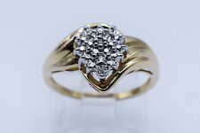 Yellow Gold - Band Size 7 #1945 Cluster Pear Style Diamond Lady Ring in 10K