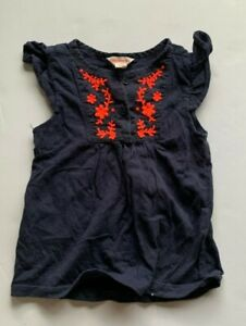 Country Road Navy Boho t-shirt w/ pink embroidery. frill sleeve. size12-18 mths