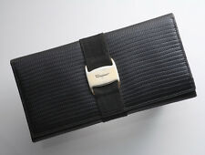 G8530 Authentic Salvatore Ferragamo Vars Lizard-Embossed Leather Long Wallet