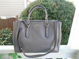 Kate Spade New York gray pebble leather large satchel handbag