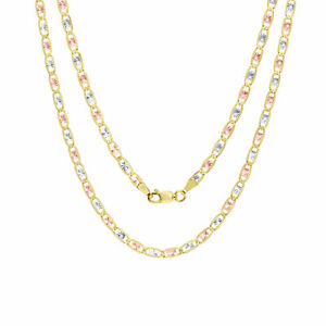 """10K Solid Tri-Color Yellow Rose White Gold 3mm Valentino Chain Necklace 16""""- 30"""""""