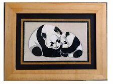 Beautiful Handmade Chinese Panda with Baby Panda Inlayed on Marble Pietra Dura