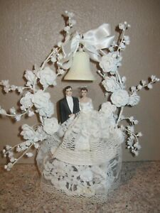 Vintage 1940s Bride Groom Wedding Cake Topper Hand Painted Chalk Ware- Bell Arch