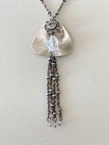 VINTAGE LIZ PALACIOS SF Swarovski Crystal Silver Florette Pendant Necklace