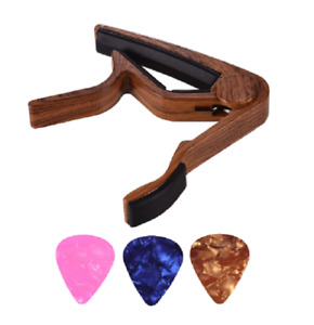 Wood coloured Electric or Acoustic Guitar Capo Rosewood Design with 3 Picks