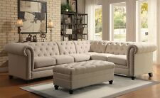 Traditional White Blended Linen Sectional Sofa W Armless Chair Living Room  Home