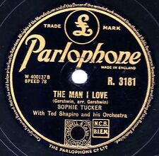 """CLASSIC SOPHIE TUCKER 78 """" THE MAN I LOVE / LIFE BEGINS AT FORTY """" PARL R3181 EX"""