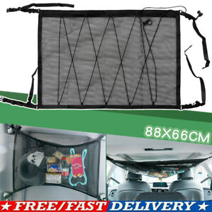 Black Car Roof Ceiling Cargo Net Mesh Storage Bag Pouch Pockets For SUV Van