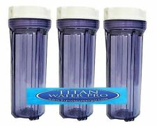 "3 WATER FILTER CLEAR HOUSING FOR REVERSE OSMOSIS DI 10"" Housing - 1/4"" Port"