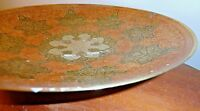 """DECORATIVE HAND PAINTED SOLID BRASS FOOTED BOWL DEEP PLATE 10"""" MADE IN INDIA"""