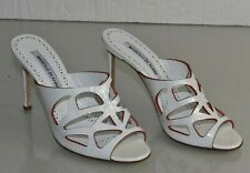 NEW Manolo Blahnik MOLLINASAN Patent Leather White Red Slides Mules Shoes 37