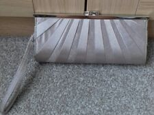 New Look Womens Clutch Bag Silver Design Strap Clasp Inner Pocket Evening Party