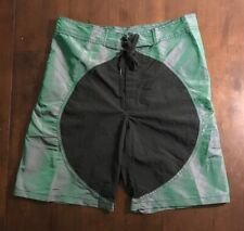 VTG SURF STYLE TRUNKS BOARD SHORTS MENS 32 80s 90s MADE USA IRIDESCENT NEON