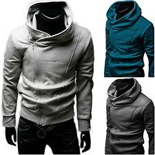 Uomo OBLIQUE Zip Felpe con cappuccio cappotti Caldo Giacca felpa maglione maglia